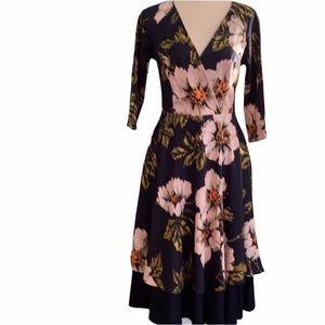 Eva Franco Anthropologie Blue Pink Floral Dress 6